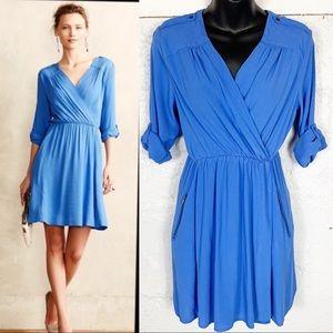 Anthropologie Mauve Lens Blue Wrap Dress